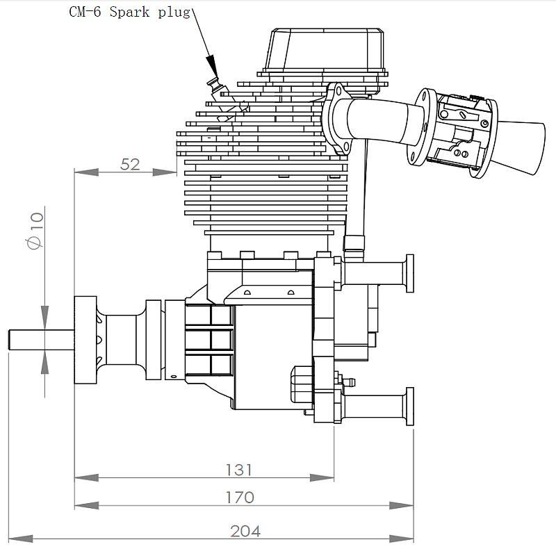 Tp70 70cc 4 Stroke Rc Model Gas Engine 6 2hp 2100gr